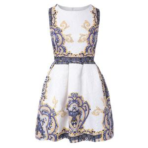 Retro Style Round Collar Sleeveless Printed Women's Dress -