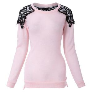 Long Sleeves Scoop Neck Lace Embroidered Stitching Long Sections Asymmetrical Hem Loose-Fitting Casual Women's Sweater - PINK ONE SIZE