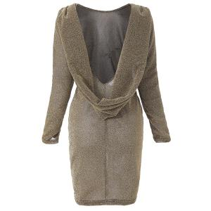 Fashionable Scoop Neck Long Sleeve Backless Dress For Women -