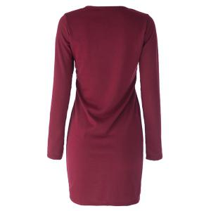 Solid Color Long Sleeve Simple Style V-Neck Cotton Packet Buttock Women's Dress - WINE RED ONE SIZE