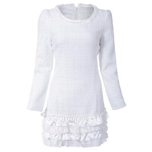 Simple Round Collar Long Sleeve Spliced Solid Color Women's Dress - WHITE S