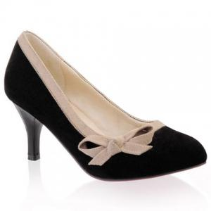 Sweet Bow and Bordered Design Women's Suede Pumps -