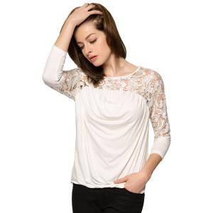Fashionable Scoop Collar Nine-Minute Sleeve Lace Splicing Women's Blouse -