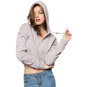 Casual Style Hooded Long Sleeve Solid Color Zipper Design Women's Hoodie - GRAY M