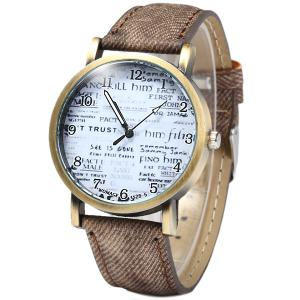 WoMaGe 1128-5 Female Quartz Watch Round Dial with Words Leather Band -