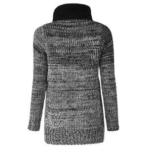 Stylish Scoop Neck Long Sleeves Pocket Long Sweater and Neckerchief For Women - AS THE PICTURE ONE SIZE(FIT SIZE XS TO M)
