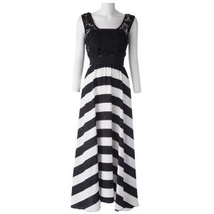 A Line Striped Lace Panel Maxi Prom Dress - WHITE/BLACK XL
