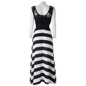A Line Striped Lace Panel Maxi Prom Dress - WHITE AND BLACK XL
