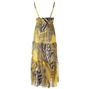 Spaghetti Strap Flowy Summer Maxi Dress - YELLOW FREE SIZE