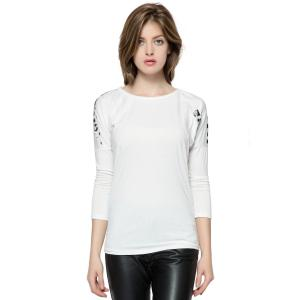 Korean Fashion and Mix-Matched Style Leopard Print Embellished Loose Bat-Wing Sleeves T-shirt For Women - White - Free Size
