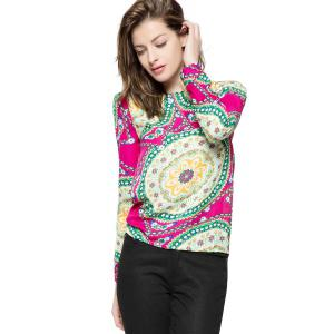 Ladylike Round Neck Floral Print Long Sleeve Women's Chiffon Shirt - Rose - One Size