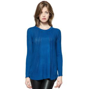 Fashionable Style Scoop Collar Solid Color Long Sleeve Cotton Women's Sweater