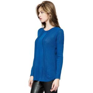 Fashionable Style Scoop Collar Solid Color Long Sleeve Cotton Women's Sweater - BLUE ONE SIZE