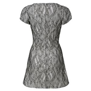 Vintage Jewel Neck Short Sleeves Bowknots Lace Splicing Dress For Women - WHITE/BLACK M