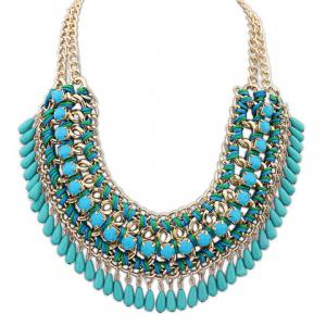 Retro Women's Drop Beads Weaved Necklace - COLOR ASSORTED