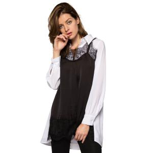 Stylish Turn-Down Collar Long Sleeve Lace Splicing Color Block Women's Dress -