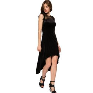 Fashionable Round Collar Sleeveless Lace Splicing High-low Hem Women's Dress - BLACK L