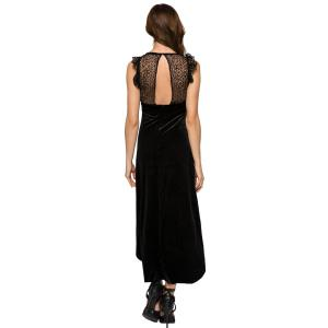 Fashionable Round Collar Sleeveless Lace Splicing High-low Hem Women's Dress -