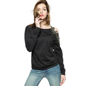 Stylish Round Collar Long Sleeve Floral Embroidery Off-The-Shoulder Women's Sweatshirt -