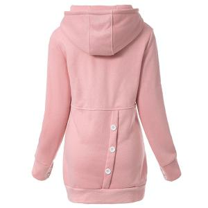 Casual Hooded Button Pocket Splicing Long Sleeves Thickened Loose-Fitting Women's Hoodie -