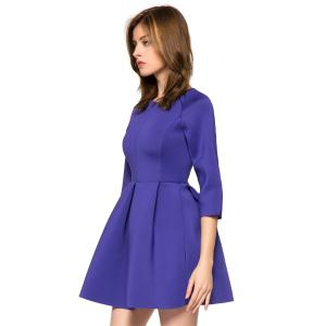 Trendy Style Round Collar 3/4 Sleeve Solid Color Pleated A-Line Women's Dress -