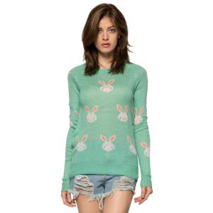 Casual Style Jewel Neck Long Sleeve Full Rabbit Pattern Women's Sweater