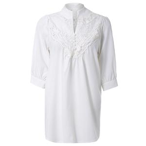 Half Sleeve Lace Splicing Blouse -