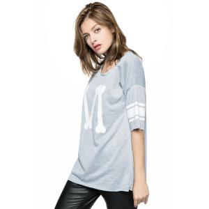 Casual Scoop Neck Loose-Fitting Printed 3/4 Length Sleeve T-shirt For Women -