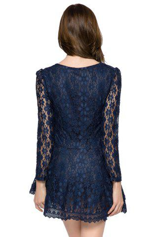 Outfits Lace Long Sleeve Mini Cocktail Dress - XL SAPPHIRE BLUE Mobile