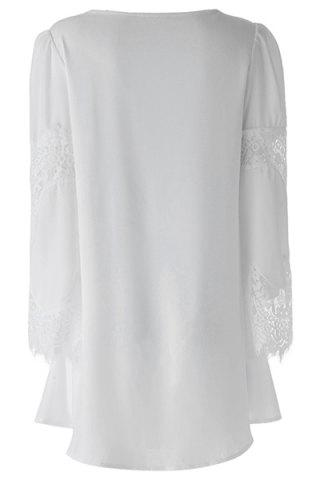 Sale Long Sleeves Tunic Casual Shift Dress - ONE SIZE(FIT SIZE XS TO M) WHITE Mobile
