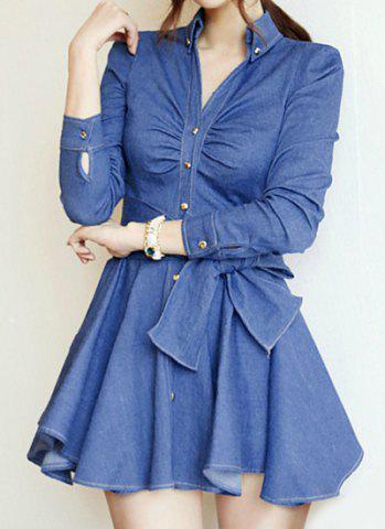 Store Stylish V-Neck Solid Color Lace-Up Long Sleeve Women's Denim Dress