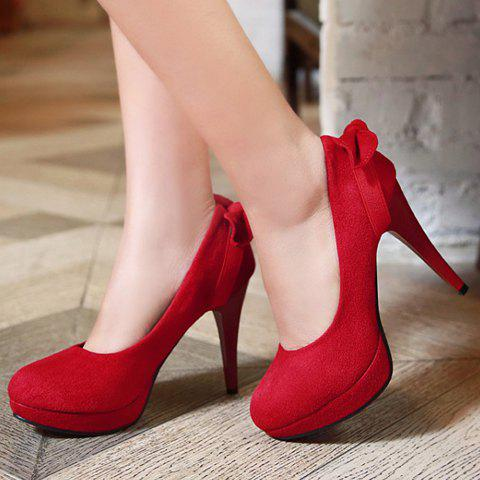 Trendy Sweet Bow and Stiletto Design Women's Suede Pumps - 40 RED Mobile