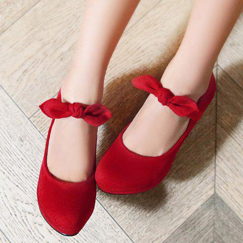 Shop Sweet Bow and Stiletto Design Women's Suede Pumps - 40 RED Mobile