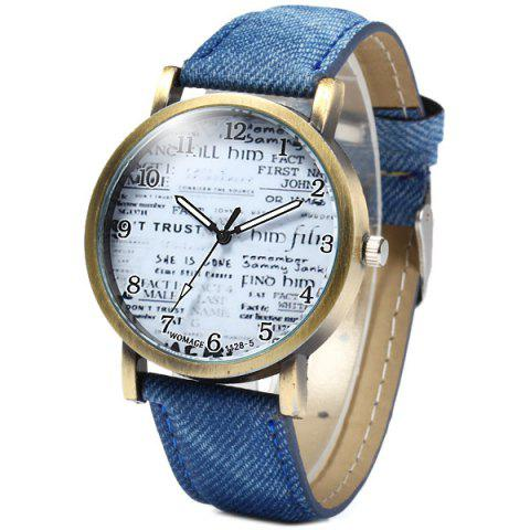 Online WoMaGe 1128-5 Female Quartz Watch Round Dial with Words Leather Band