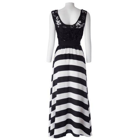 Buy A Line Striped Lace Panel Maxi Prom Dress - L WHITE AND BLACK Mobile