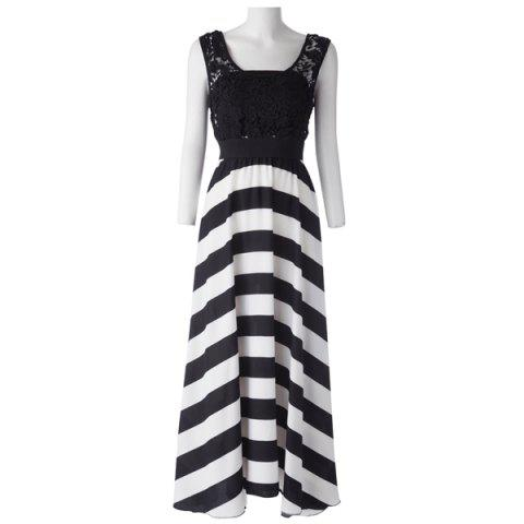 Discount A Line Striped Lace Panel Maxi Prom Dress - L WHITE AND BLACK Mobile