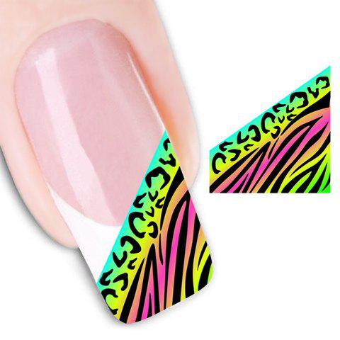 Fancy One Sheet Chic Irregular Stripe Pattern Color Block Water Transfer Printing Nail Sticker GREEN