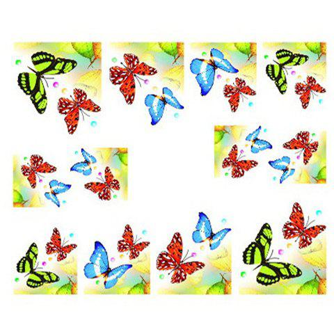 One Sheet Chic Colorful Butterfly Pattern Water Transfer Printing Nail Sticker от Rosegal.com INT