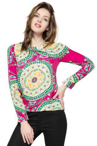 Sale Ladylike Round Neck Floral Print Long Sleeve Women's Chiffon Shirt - ONE SIZE ROSE Mobile
