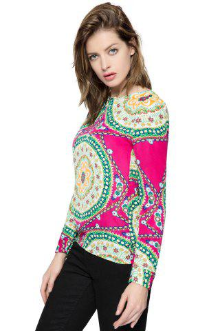 Online Ladylike Round Neck Floral Print Long Sleeve Women's Chiffon Shirt - ONE SIZE ROSE Mobile