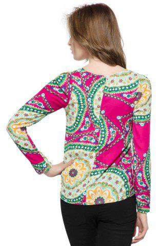 Affordable Ladylike Round Neck Floral Print Long Sleeve Women's Chiffon Shirt - ONE SIZE ROSE Mobile