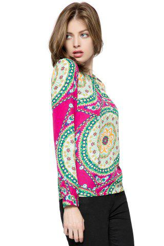 Discount Ladylike Round Neck Floral Print Long Sleeve Women's Chiffon Shirt - ONE SIZE ROSE Mobile