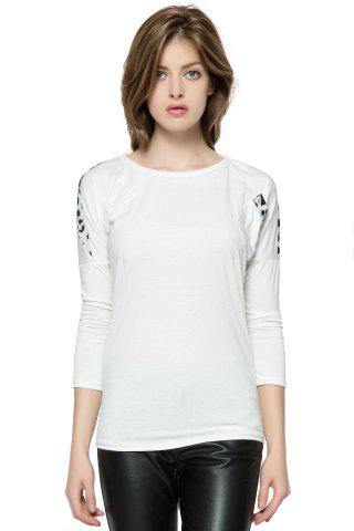Trendy Korean Fashion and Mix-Matched Style Leopard Print Embellished Loose Bat-Wing Sleeves T-shirt For Women WHITE FREE SIZE