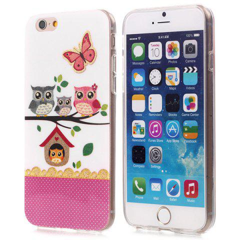 Online Stylish Shimmering Powder TPU Back Cover Case with Owl Pattern for iPhone 6 - 4.7 inches