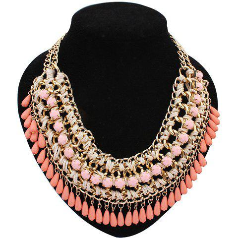 Latest Retro Women's Drop Beads Weaved Necklace COLOR ASSORTED