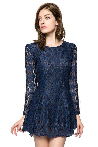 Fancy Ladylike Style Solid Color Scoop Neck Lace Long Sleeves Slimming Burnt-Out Women's Dress - M SAPPHIRE BLUE Mobile