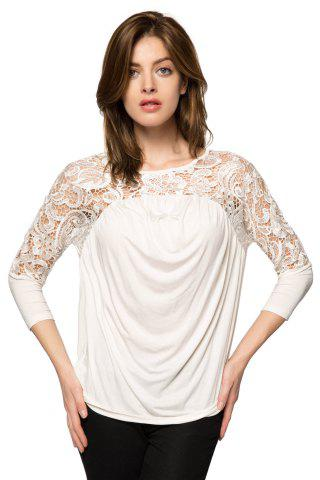 Shop Fashionable Scoop Collar Nine-Minute Sleeve Lace Splicing Women's Blouse WHITE XS