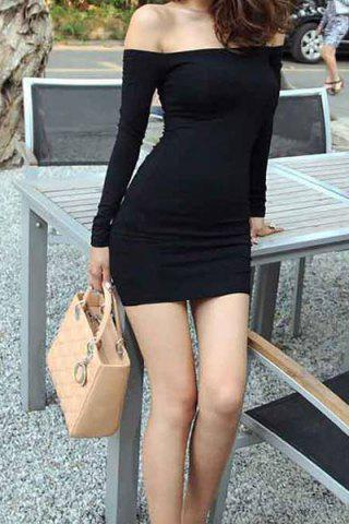 Outfit Sexy Slash Neck Off-The-Shoulder Bodycon Black Dress For Women