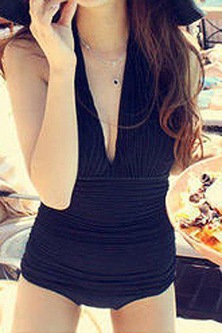 Cheap Trendy Halter Solid Color One-Piece Swimsuit For Women