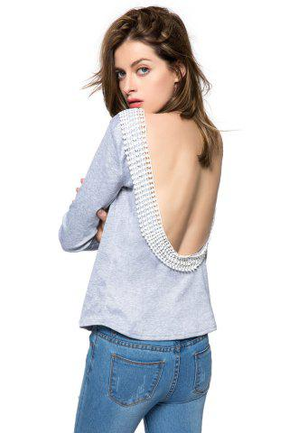 Discount Long Sleeve Open Back T Shirt GRAY S